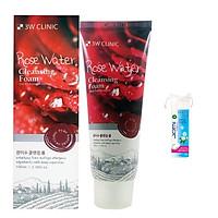 Sữa Rửa Mặt 3W CLINIC ROSE WATER Chiết Xuất Hoa Hồng + Tặng Kèm Bông Tẩy Trang JOMI Nhật 80 Miếng