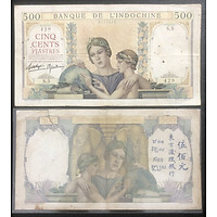 Tiền  Việt Nam Đông Dương 500 đồng Vàng  quả đìa cầu băng trắng sưu tầm