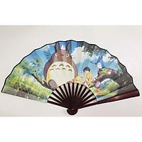 Quạt xếp Totoro dài 34cm - Qụat xoè. Qụat cầm tay in hình 2 mặt khác nhau Anime Manga