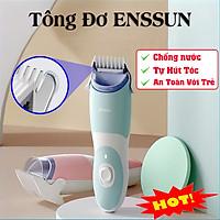 Tông đơ cắt tóc gia đình và cho bé ENSSUN tự động hút tóc , Chống nước cực tốt dễ dàng vệ sinh Tặng kèm dậu gội cho bé