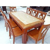 Bàn ăn mặt đá hình chữ nhật 8 ghế  màu vàng - Hàng nhập khẩu Malaysia