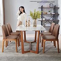 Bộ bàn ăn mặt đá concord kèm 4 ghế grace 6 ghế grace