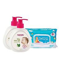 Combo 2 chai dầu tắm gội mamamy 400ml an toàn cho bé tặng kèm 1 gói khăn ướt em bé Beeno 80 tờ không mùi flashsale 1 đ.
