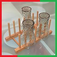 Giá gỗ mini úp Ly Cốc Chén bằng tre đa năng Loại 6 ô ,Màu Vàng gỗ tre nguyên bản sáng đẹp,Kích thước 29 x 12,5 x 11 -  Kệ Gỗ mini 6 ô úp ly cốc chén