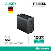Cốc Sạc Aukey 2 Cổng PA-F3S, Sạc Nhanh Cổng Type C Power Delivery 20W, Cổng USB-A 12W - Hàng Chính Hãng