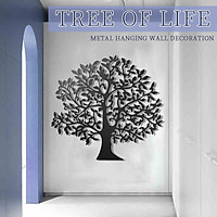 Black Tree Of Life Paint Metal Hanging Wall Art Home Decoration Iron Corridor
