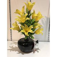 Bình hoa đèn led sợi quang đổi màu - bình hoa trang trí - bình ly hoa vàng cắm điện 220V - BH149