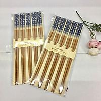 2 bộ đũa gỗ cao cấp chống mốc họa tiết hoa xanh (5 đôi / bộ) - Hàng nội địa Nhật