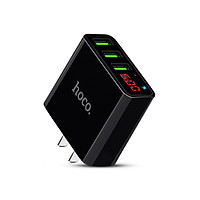 Adapter Hoco C15 củ sạc điện thoại 3 cổng USB 3A có đèn LED hiển thị dòng điện - Hàng chính hãng