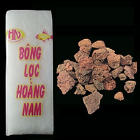 Combo Đá Nham Thạch (1kg) + Bông Lọc Bể Cá 30x13cm vật liệu lọc, trang trí bể cá