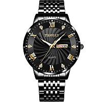 Đồng hồ nam TISSELLY T99 chạy 2 lịch mặt kính cường lực sáng trong sang trọng không thấm nước 3ATM Đồng hồ thạch anh kim dạ quang phát sáng ban đêm dây hợp kim thép không gỉ
