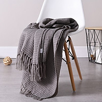 Plain Colour Knitting Blanket Woolen Yarn Blanket with Tassel for Sofa Bedroom Chairs Supplies