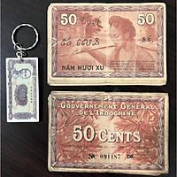 Tờ 50 xu cổ Đông Dương 3 nước Việt Nam, Lào, Campuchia dùng chung (kèm móc chìa khóa hình tiền xưa lạ mắt)