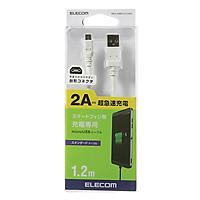 Dây cáp micro USB (A-micro B) 2A sạc nhanh ELECOM MPA-AMBC2U12 (1.2m) - Hàng Chính Hãng