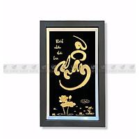 Tranh chữ nhẫn dát vàng 24k(35x55cm) MT Gold Art- Hàng chính hãng, trang trí nhà cửa, phòng làm việc, quà tặng sếp, đối tác, khách hàng, tân gia, khai trương