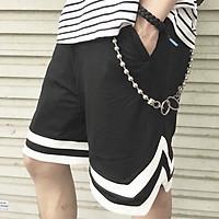 Quần đùi chữ V, quần short cho nam, nữ cạp chun phom to đẹp màu đen, sọc trắng