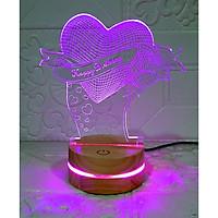 Đèn Happybirthday heart, quà tặng sinh nhật, Đèn Trang trí, đèn 3D led, Đèn ngủ đổi màu, Đèn 16 màu thay đổi, Đế gỗ thân thiện, điều khiển từ xa tiện lợi, Quà tặng ý nghĩa, quà lưu niệm, thiết bị chiếu sáng nhà cửa, bàn làm việc