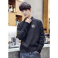 Áo len nam cổ tròn thêu họa tiết trẻ trung, thời trang phong cách Hàn Quốc