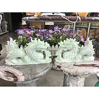Cặp Rồng nằm phong thủy đá cẩm thạch trắng xanh - Dài 30 cm