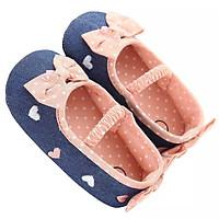 Giày tập đi hoạt tiết trái tim phối nơ đáng yêu cho bé 0-18 tháng tuổi  – TD21