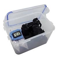 Combo hộp chống ẩm, ẩm kế điện tử, 200gram hạt hút ẩm xanh, mút xốp, khăn lau lens cho máy ảnh, máy quay phim - dung tích 5 lít - Hàng chính hãng