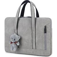 Túi Xách Da Chống Sốc Cho Macbook,Laptop,Surface - Siêu Mỏng - Phong Cách Thời Trang Thanh Lịch Nữ Tính (Tặng kèm gấu)