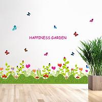 Decal trang trí dán chân tường khu vườn hoa đầy màu sắc cho bé SK7006