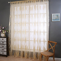 Wavy Line Window Curtain Translucent Tulle for Living Room Balcony Decoration