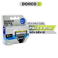 Vỉ 04 Đầu Cạo Râu 6 Lưỡi Dorco Pace 6 Plus SXA 5040-4B (6 Lưỡi + Đầu Cắt Tóc Mai)