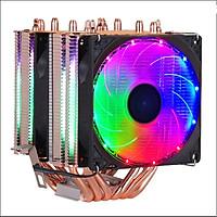 Quạt Tản Nhiệt CPU Cooler Hình Tháp 6 Ống Đồng, 3 Quạt, 4 PIN Cho Socket 1150 1151 1155 1156 X58 1366 X79 2011 có Led chiếu sáng cầu vồng - Hàng nhập khẩu