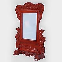 Khung hình  thờ gỗ hương mẫu khắc  hoa Mai  phun mầu gỗ hương đỏ DA147
