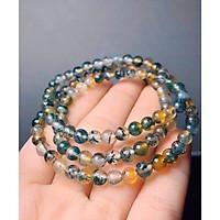 Vòng đeo tay, lắc tay phong thủy chuỗi hạt quấn 3 vòng đá ngọc băng tảo