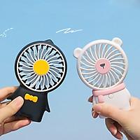 Quạt cầm tay nhỏ Di động Nhẹ treo cổ USB Có thể sạc lại Máy làm mát không khí Gia đình Văn phòng Tắt tiếng 3 Tốc độ Có thể điều chỉnh Mùa hè
