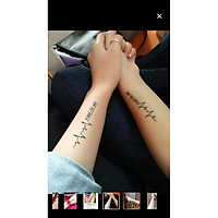 Tấm dán xăm tatoo Valentine Nam Nữ độc đáo Nhịp tim C'Est lavie Meo 1 tấm gồm 3 hình