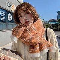 Khăn Choàng Cổ Len Cashmere Cao Cấp Giữ Ấm Mùa Đông Họa Tiết Cầu Vòng - 65x195cm - Mã LN011