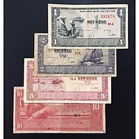 Bộ 4 Tờ Tiền Xưa Việt Nam 1đ, 2đ, 5đ, 10đ [Tiền Cổ Xưa Sưu Tầm]