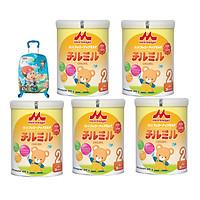 5 Hộp Sữa Morinaga Số 2 - Chilmil (850g) Tặng vali kéo cho bé