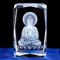 Tượng phật A Di Đà ngồi đài sen pha  lê điêu khắc 3D sang trọng