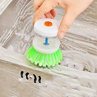 Dụng cụ Cọ rửa chén bát nhà bếp kèm bình chứa chất tẩy rửa tiện lợi (Giao ngẫu nhiên)