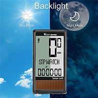 Solar Cell 5 Languages Wireless Bike Computer Auto ON/OFF Cycling Speedometer Odometer Waterproof Backlight Bicycles
