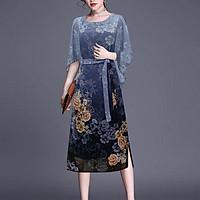 Đầm Suông Tay Cánh Tiên Cành Hoa Trắng Kiểu Đầm Thời Trang Trung Niên Dự Tiệc Nhiều Size ROMI 3265 - XANH DƯƠNG HOA NHỎ 3304 - M 48-53KG