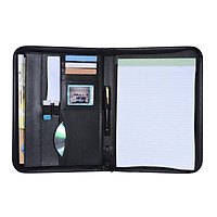 Multifunctional Professional Business Portfolio Padfolio Folder Document Case Organizer A4 PU Leather Zippered Closure