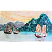 Tranh sơn dầu sáng tác vẽ tay: Hòn Trống Mái
