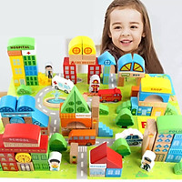 Bộ đồ chơi 100 khối gỗ City Building phát triển tư duy cho bé - hàng nhập khẩu