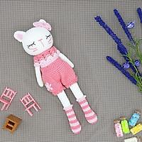 Gấu bông móc len Amigurumi cao cấp - Mèo Kitty chân dài màu hồng quà tặng thú nhồi bông - SP000288