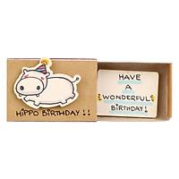 Thiệp Sinh Nhật Hộp Diêm Hippo Birthday
