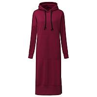 ZANZEA Women Spring Autumn Casual Loose Long Hoodies Sweatshirt Full Sleeve Fleece Split Hooded Dress Vestidos Plus Size (Red)
