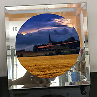 Đồng hồ thủy tinh vuông 20x20 in hình Church - nhà thờ (22) . Đồng hồ thủy tinh để bàn trang trí đẹp chủ đề tôn giáo