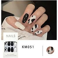 Bộ 24 móng tay giả đẹp (KM051) tặng kèm thun lò xo cột tóc màu đen tiện lợi