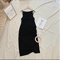 Đầm body 2 dây, váy nữ body hở lưng màu đen cá tính